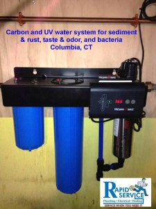 water treatment system in columbia ct using sediment filter, carbon filter, uv water purification system