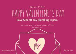valentines-special-coupon-plumbing-repair-columbia-ct-plumber-rapid-service